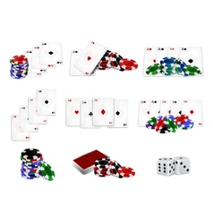 Set of casino chips and cards vector