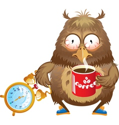 Early morning time - funny owl with cup of coffee vector