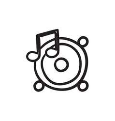 Loudspeakers with music note sketch icon vector