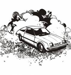 grunge hatchback car vector image