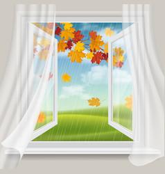 Open window and autumn landscape vector