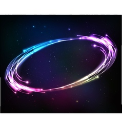 Shining neon lights cosmic abstract frame vector