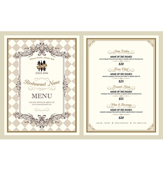 Vintage style restaurant menu design vector