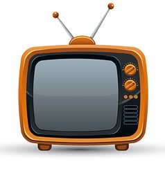 Bright orange retro tv set vector