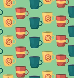 Seamless pattern with cups teatime background for vector