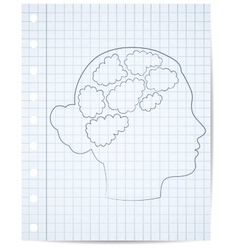 Girl head with thought template vector