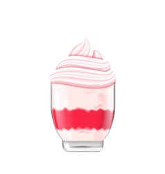 Icecream with Whipped Cream in Bowl Isolated vector image