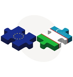 European Union and Uzbekistan Flags vector image