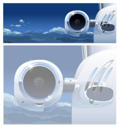 Business jet in the sky vector