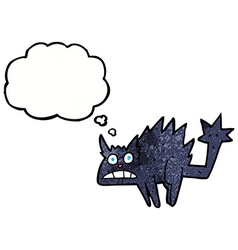 Cartoon frightened black cat with thought bubble vector