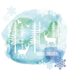 Watercolor christmas card vector