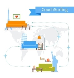 Couch surfing and sharing economy concept vector