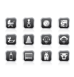 Child and baby online shop icons vector