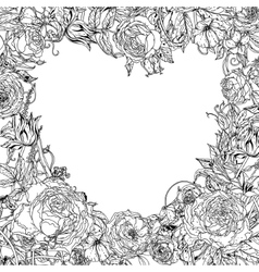 Black and white Flower roses vector image