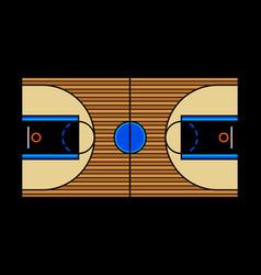 A hardwood basketball court vector