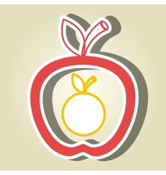 apple fruit with orange isolated icon design vector image vector image