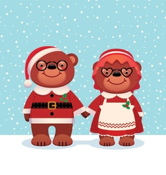 Bear santa claus and his wife vector