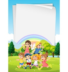 Children running around in the park vector image