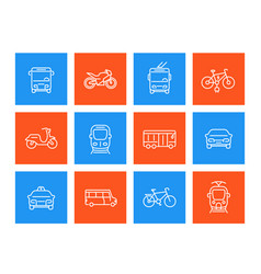 City transport linear icons vector