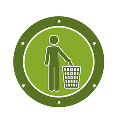Color circular emblem with man and trash container vector
