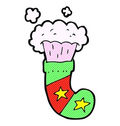 Comic cartoon magic christmas stocking vector