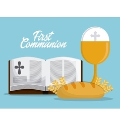 cup bible bread gold religion icon graphic vector image