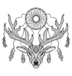 Deer head with horns and dreamcatcher vector image