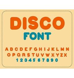 Disco font retro alphabet vintage rounded alphabet vector