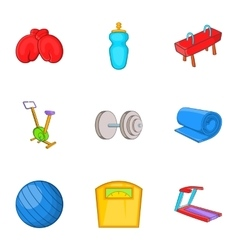 Exercise in gym icons set cartoon style vector image
