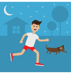 Funny cartoon running guy dachshund dog night vector
