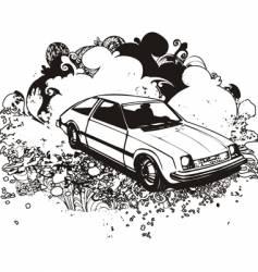 grunge hatchback car vector image
