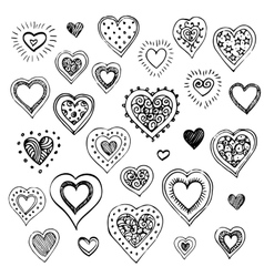 Hand drawn sketch set of hearts vector image