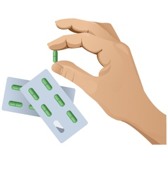 Hand with pill version 2 vector image