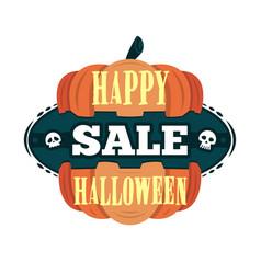 happy halloween sale offer design template vector image