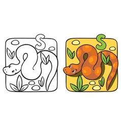 Little snake coloring book alphabet s vector