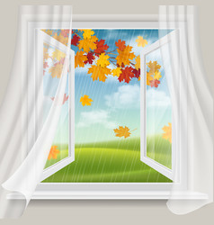 open window and autumn landscape vector image vector image