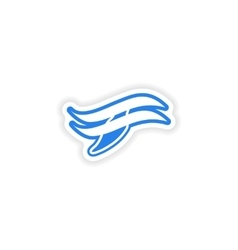 paper sticker on white background whale logo vector image vector image