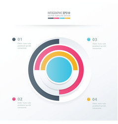 Pie chart infographics blue pink yellow blue vector