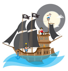 pirate frigate large a ship with black sails and vector image
