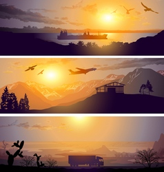 Plane ship and truck at sunset logistic business t vector