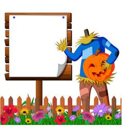 Scarecrow cartoon holding scary pumpkin vector