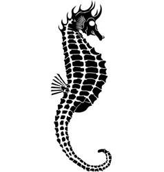 seahorse black vector image