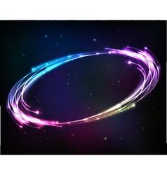 Shining neon lights cosmic abstract frame vector image