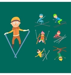 Skiing people tricks vector image