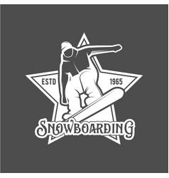 snowboarding badge winter sport vector image vector image