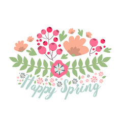 spring typographic flower badge design vector image vector image