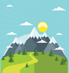 summer mountain with snow-covered peaks vector image