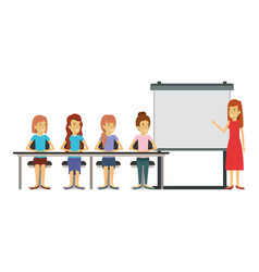 white background with women group sitting in a vector image vector image
