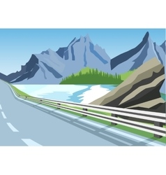 Winding road in mountains along the sea or ocean vector