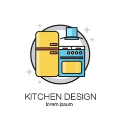 Kitchen design line logo vector